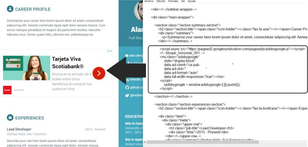 Crear un bloque de anuncios de adsense en html